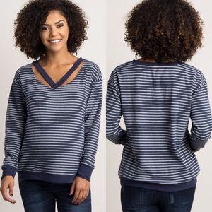 Pink Blush Maternity Navy Striped Cutout Sweater